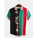 Оригинал              Banggood Дизайн Мужчины 100% хлопок Blossom Colorful Полосатый смешанный принт с коротким рукавом повседневные праздничные рубашки