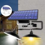 Оригинал              Двойная головка LED Солнечная Светлый Ретро Кулон На открытом воздухе Домашний IP65 Лампа Для Кемпинг Домашний Сад Двор