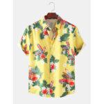 Оригинал              Мужские дизайнерские мультфильм с цветочным принтом Hawaii Holiday Рубашки с коротким рукавом