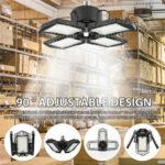 Оригинал              60 Вт E27 132 LED Гаражная подсветка 4 Лопасти Потолок деформируемый Лампа Для заводской мастерской AC85-265V