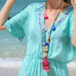Оригинал              Градиент Colorful кисточка ручной работы из бисера ожерелье Shell Бирюзовый белые деревянные бусы длинное ожерелье