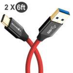 Оригинал              [2 комплекта] BlitzWolf® BW-TC10 3A Плетеный прочный USB-кабель на 6 футов / 1,8 м для быстрой зарядки данных от 3,0 до Type-C для Huawei P30 P40 Pro Xiaomi Mi10 Redmi Note 9S