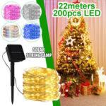 Оригинал              22M 200LED Солнечная Строка Fairy Light Теплый белый / белый / Colorful/Розовый / Blue Lawn Лампа Свадебное Праздничная вечеринка Рождество Сад Декор