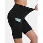 Оригинал              Sport Женское Сплошной цвет эластичной высокой талией Yoga Бег байкерские шорты с карманом