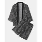 Оригинал              Mens Этнический стиль принт кимоно топы колено Длина шорты повседневные пижамный комплект