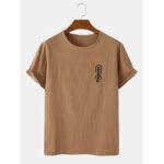 Оригинал              Mens National Style Flax Round Шея Повседневные футболки с коротким рукавом