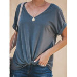 Оригинал              Женщины Повседневная сплошной цвет O-образным вырезом с коротким рукавом блузка
