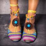 Оригинал              LOSTISY Цепочка из бисера и радуги в полоску Богемия Повседневная обувь на плоской подошве