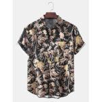 Оригинал              Hawaii Пляжный Стиль мужские тропические листья с коротким рукавом воротник с лацканами рубашки