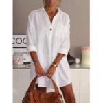 Оригинал              Сплошной цвет отложным воротником с длинным рукавом карман Рубашка Платье