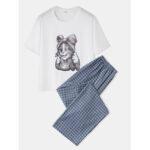 Оригинал              Женская симпатичная пижама с принтом Кот Набор из двух частей Удобная пижама с длинным пледом Брюки