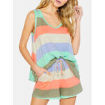 Оригинал              Женская полосатая одежда размером Plus пижам без рукавов Soft Пижамы с майкой