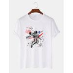 Оригинал              Свободные футболки с короткими рукавами и принтом космонавта из 100% хлопка