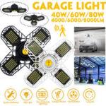 Оригинал              40/60/80 Вт Деформируемый E26/E27 Ультра-яркий LED Гараж Потолочный светильник Включен