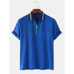 Оригинал              Мужские передние карманы на молнии с коротким рукавом Lesure Sport Рубашки для гольфа