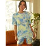 Оригинал              Tie Dye Print Женское Летние спортивные футболки из двух частей Top Casual