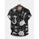 Оригинал              Mens Cartoon Кот Рубашки с коротким рукавом с отложным воротником и принтом