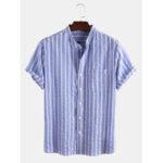 Оригинал              Мужские рубашки в полоску с коротким рукавом и карманом
