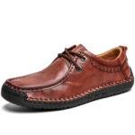 Оригинал              Мужская воловья кожа ручной сшивки без скольжения Soft подошва бизнес повседневная обувь