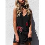 Оригинал              Цветочная вышивка без рукавов с V-образным вырезом без рукавов с завязкой Mini Платье с чокером