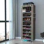 Оригинал              Стойка для обуви 10 ярусов с пылезащитной крышкой Шкаф для хранения обуви Органайзер