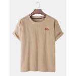 Оригинал              Этнический стиль вышивки круглые Шея Свободные футболки с коротким рукавом