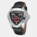 Оригинал              JARAGAR 6516 Модные мужские автоматические часы Creative Triangle Dial Дата недели Дисплей Натуральная Кожа Механический Часы