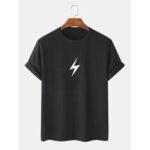 Оригинал              5 цветов молнии печати 100% хлопок дышащий круглый Шея футболки с коротким рукавом