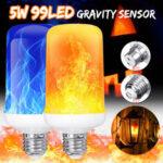 Оригинал              4 режима гравитации Датчик B22 E27 Огненная лампочка с эффектом пламени Супер яркий 96 светодиодов Декоративная атмосфера Свет Рождественский