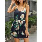 Оригинал              Женщины случайный цветочный принт без рукавов стрейч поясной мини Платье