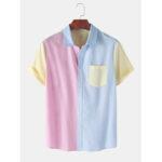 Оригинал              Рубашки мужские повседневные шить контрастного цвета с коротким рукавом