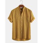 Оригинал              Мужская повседневная рубашка с коротким рукавом Banggood Designed 100% хлопок в полоску