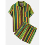 Оригинал              Banggood Designed Мужские хлопчатобумажные Colorful полосатые практичные карманные дышащие рубашки шорты