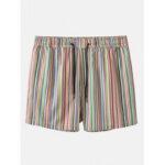 Оригинал              Мужские разноцветные полосатые карманные праздничные повседневные шорты на шнуровке