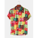 Оригинал              Banggood Designs Mens Cartoon Кот Рубашки с коротким рукавом с отложным воротником и принтом