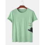 Оригинал              Мужская мультфильм Кот С принтом в сплошном цвете Летние свободные дышащие футболки