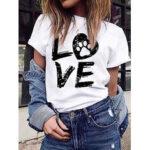 Оригинал              LOVE Print Round Шея Повседневные футболки с коротким рукавом для Женское