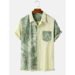 Оригинал              Banggood Дизайн 100% хлопок сращенные галстук-краситель пэчворк карман дышащие повседневные рубашки