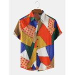 Оригинал              Дизайн Colorful Геометрическая графика Мужские хлопковые дышащие рубашки с коротким рукавом