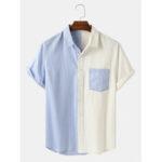 Оригинал              Banggood Дизайн Мужские хлопчатобумажные нашивки с нашивками с короткими рукавами Повседневные рубашки