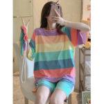 Оригинал              Женщины Colorful Полосатый с коротким рукавом удобный повседневный пижамы из двух частей комплект пижамы