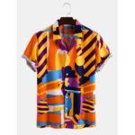Оригинал              Мужские нерегулярные многоцветные печати светлые повседневные рубашки с короткими рукавами Revere воротником