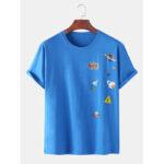 Оригинал              Хлопок Забавный мультяшный принт с ракетой Свободные круглые футболки с коротким рукавом Шея