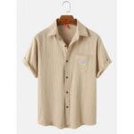 Оригинал              Мужская погода вышитые хлопковые повседневные рубашки с коротким рукавом с карманом