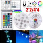 Оригинал              2PCS / 4PCS LED Подводный свет Водонепроницаемы RGB Плавание Бассейн Лампа + 24 ключа IR Дистанционное Управление