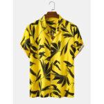 Оригинал              Рубашки с длинным рукавом с принтом Bangood Designs Mens Tropical Лист
