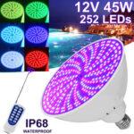 Оригинал              45 Вт E27 PAR56 RGB LED Лампа 12 В Подводное освещение Плавание Бассейн Light & Spa Light W / Дистанционный