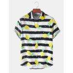 Оригинал              Мужские Дизайн полосатые фрукты лимон с принтом воротник с лацканами с коротким рукавом повседневные рубашки