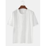 Оригинал              Сплошной цвет хлопок Основные круглые Шея Дышащие футболки с коротким рукавом
