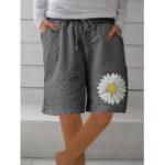 Оригинал              Daisy Print Женское Свободные шорты с карманами на шнуровке
